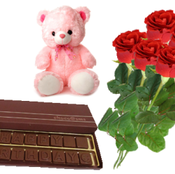 Double line Sms Combo with Teddy and Rose