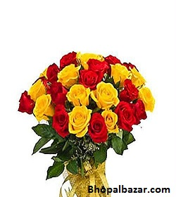 Yellow And Red Roses Bunch