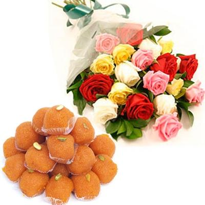 multicolor roses with motichoor laddu