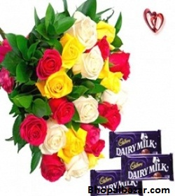 Mix roses with cad-bury dairy-milk chocolate